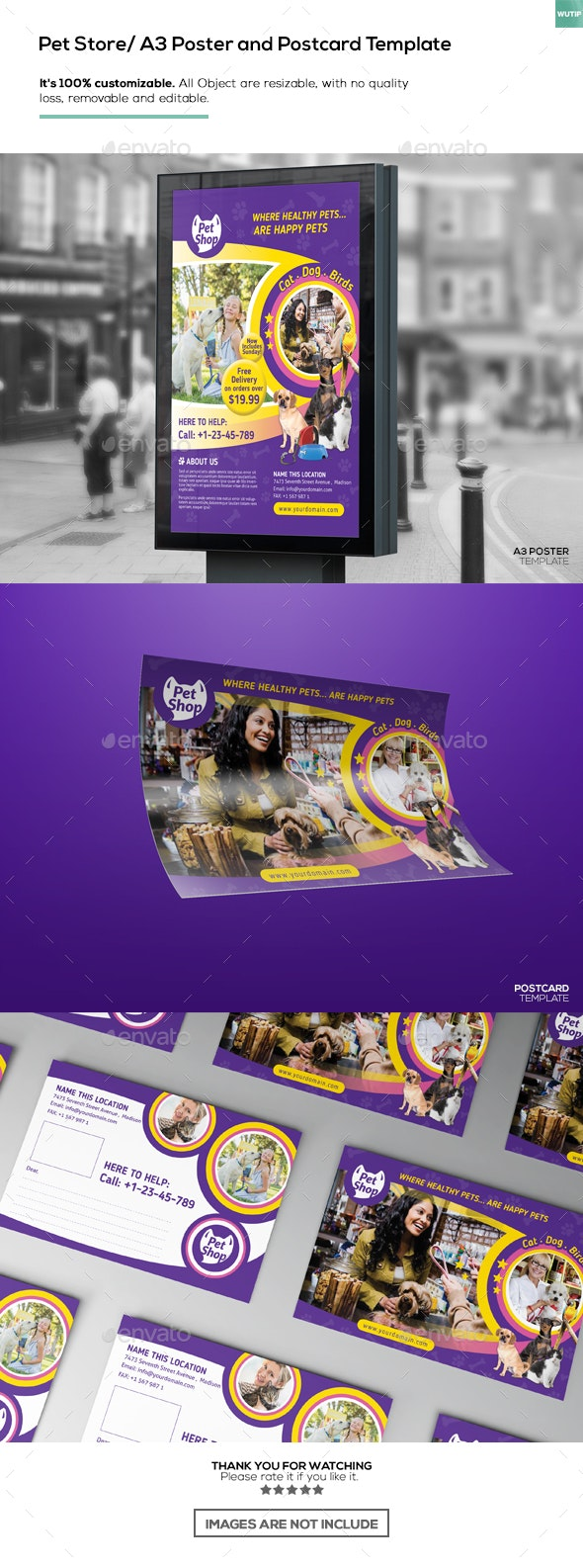 Pet Store/ A3 Poster and Postcard Template