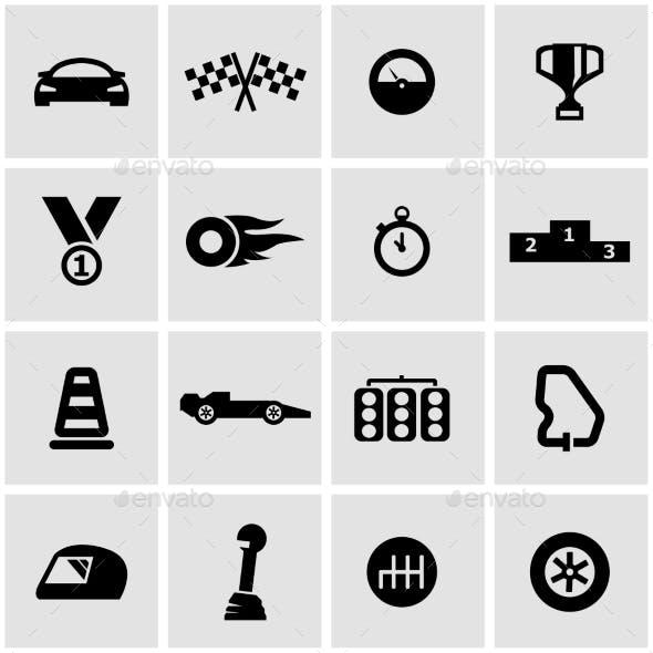 Vector Black Racing Icon Set