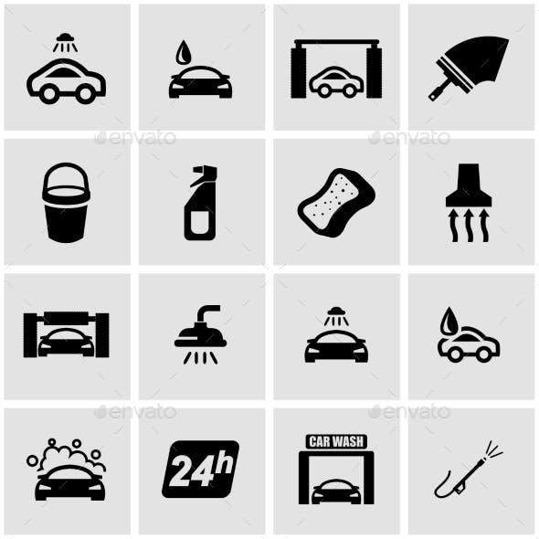 Vector Black Car Wash Icon Set