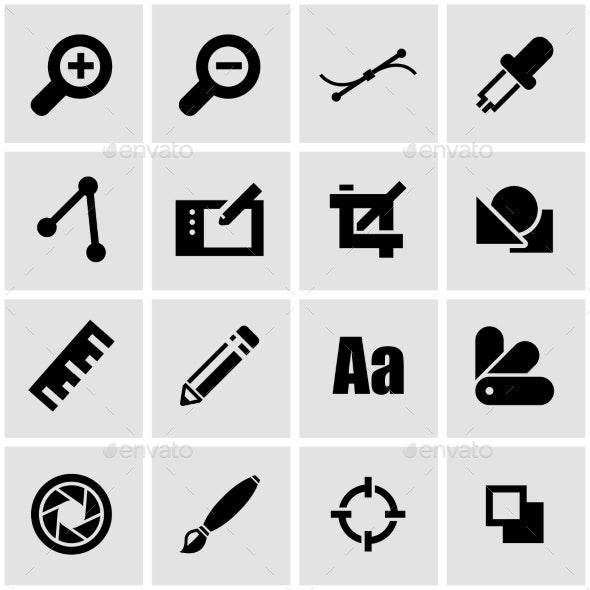 Vector Black Graphic Design Icon Set - Icons