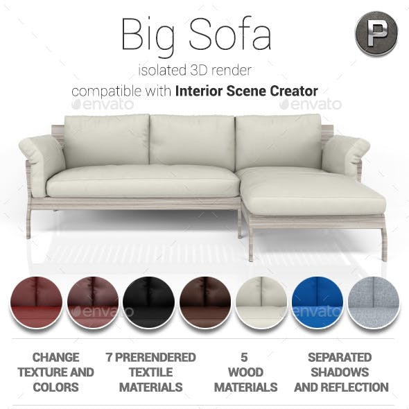 Big Sofa Isolated 3D Render
