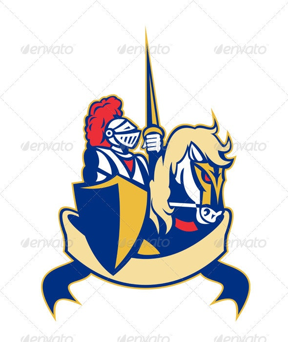 Knight With Shield and Lance Horse Retro - Characters Vectors