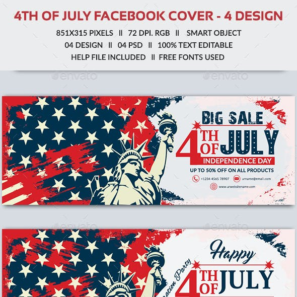 4th of July Facebook Cover - 4 Designs - Images Included