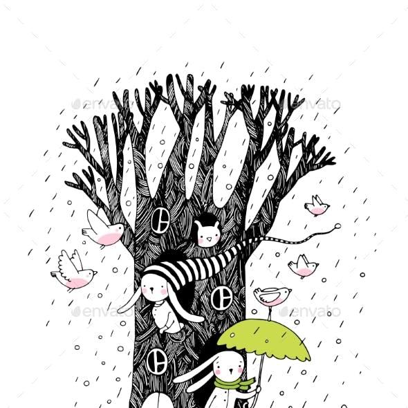 Magic Tree, Rabbits and Birds