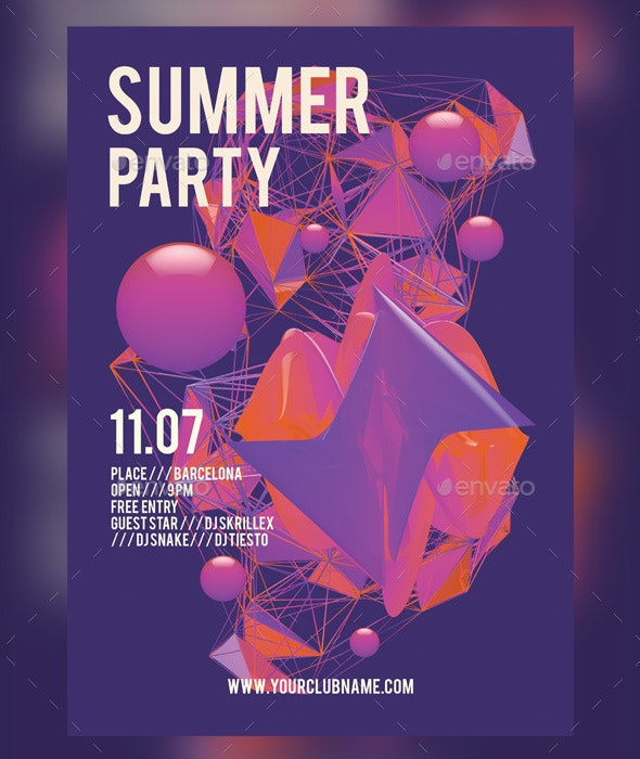 Summer Party Flyer + FB Cover - Clubs & Parties Events