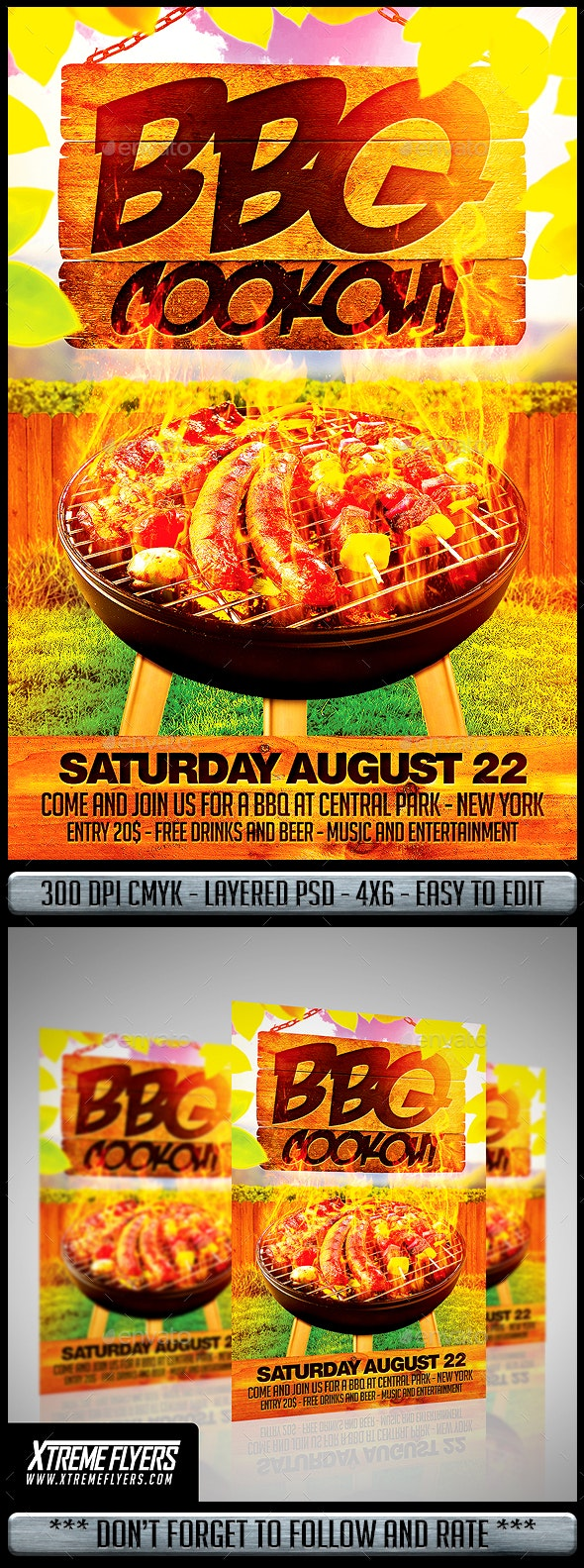 BBQ Cookout Flyer - Clubs & Parties Events