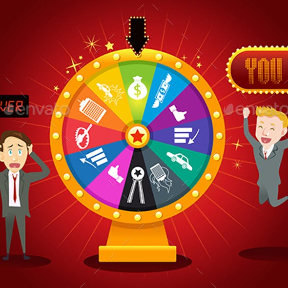 Businesspeople with Financial Wheel of Fortune