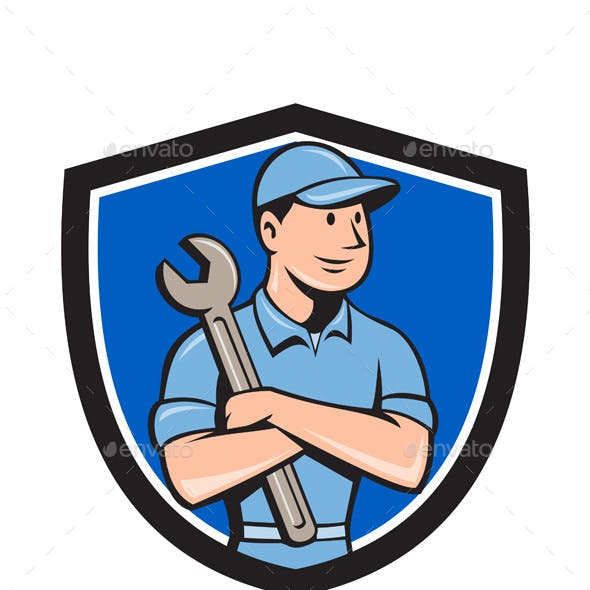 Mechanic Arms Crossed Spanner Crest Cartoon