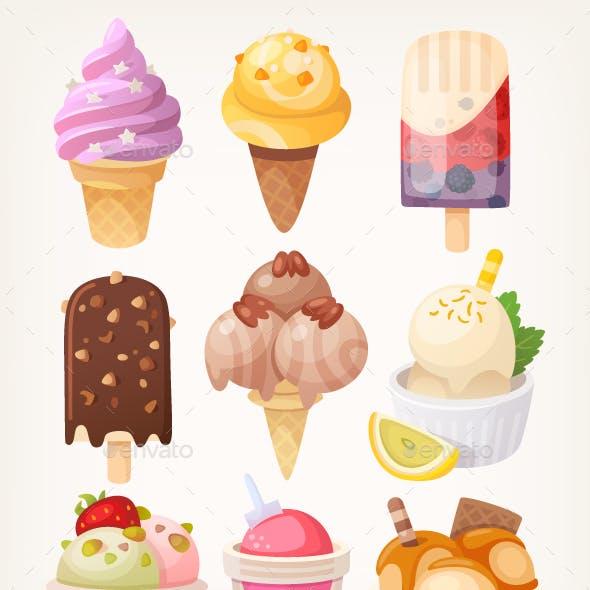 Set of Colorful Ice Cream