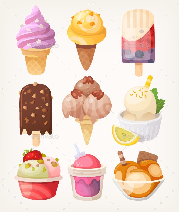 Set of Colorful Ice Cream - Food Objects