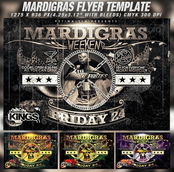 Mardigras Weekend Flyer Template - Clubs & Parties Events