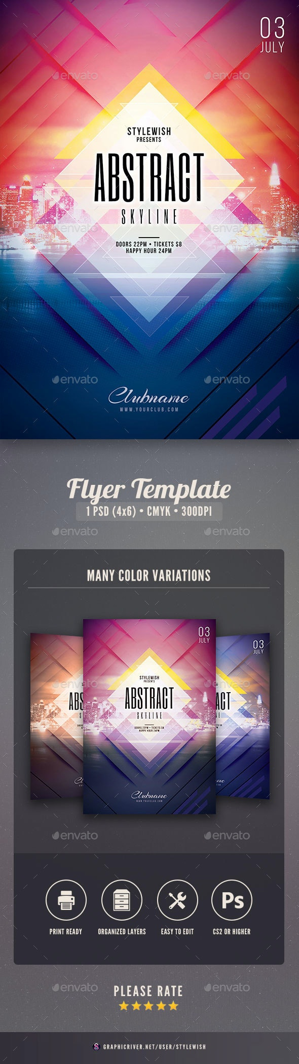 Abstract Skyline Flyer - Clubs & Parties Events
