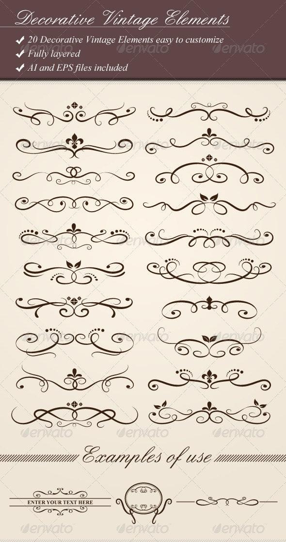 Decorative Vintage Elements - Flourishes / Swirls Decorative