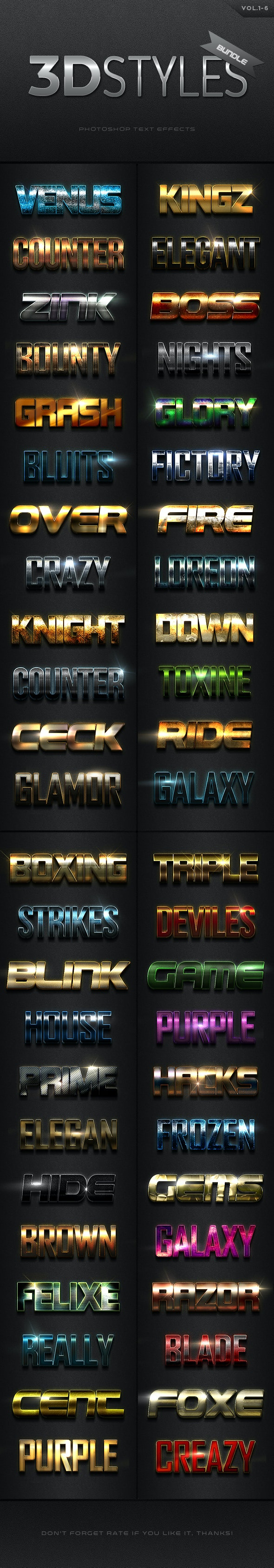 3D Photoshop Text Effects Bundle Three - Text Effects Actions