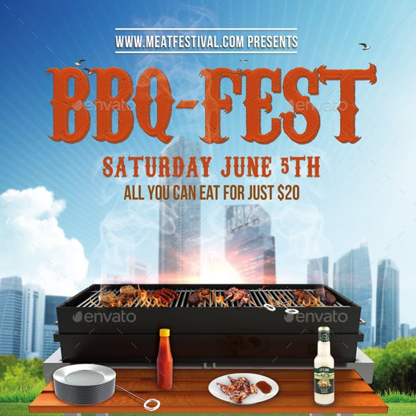 Bbq Fest Party Flyer + Fb Cover