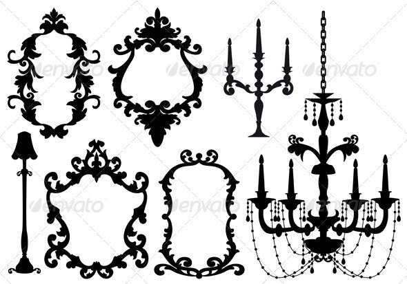 Picture Frames and Chandelier - Man-made Objects Objects