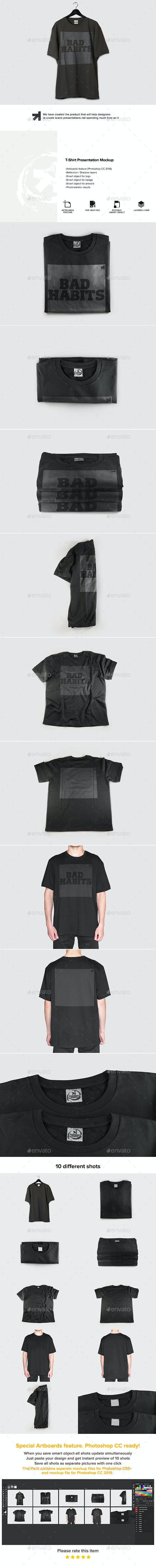 Black T-Shirt Presentation Mockup - T-shirts Apparel