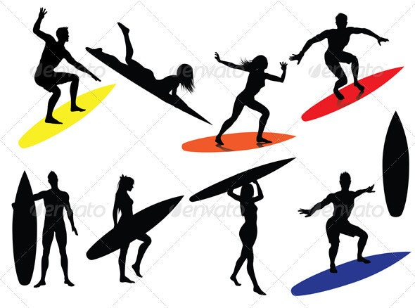 Surfer Silhouettes - People Characters