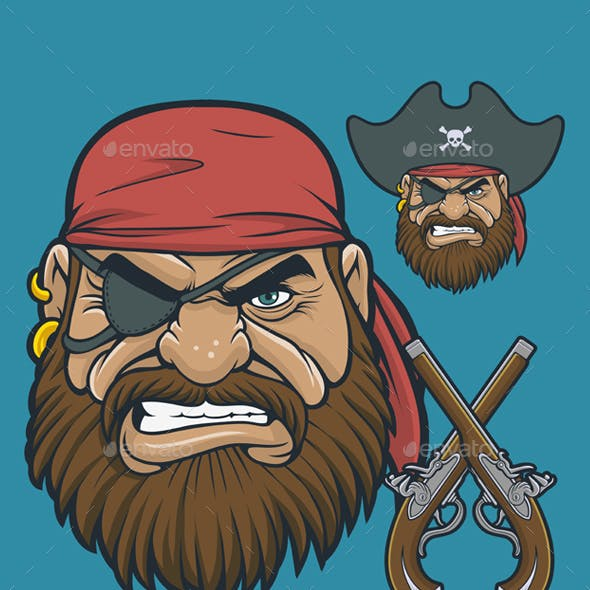 Pirate Head with Flintlock Pistols