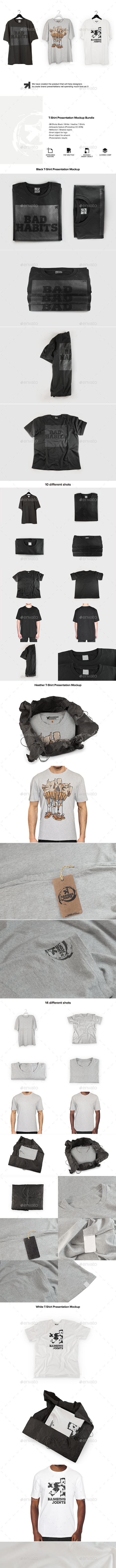 T-Shirt Mockups Bundle - T-shirts Apparel