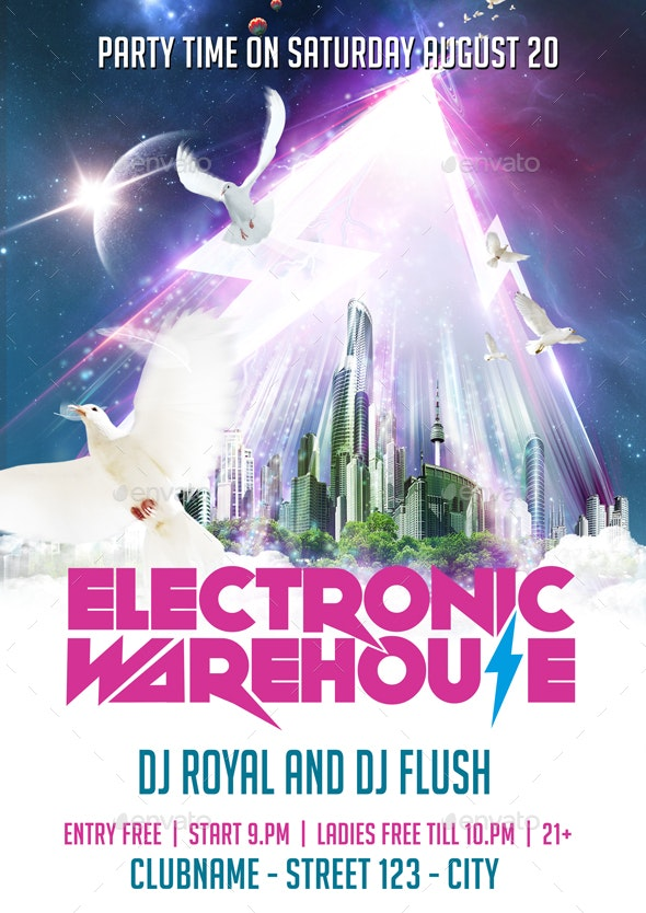 Electric Warehouse Flyer + Fb Cover - Clubs & Parties Events