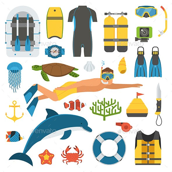 Snorkeler Man and Snorkeling Set
