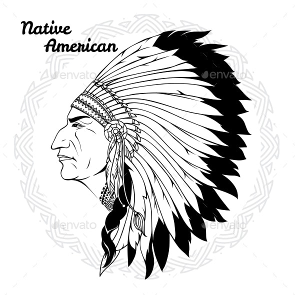 Native American in Profile Monochrome - People Characters