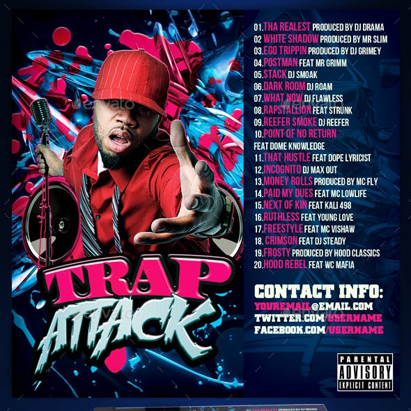 Mixtape / CD Cover Template - Trap Attack