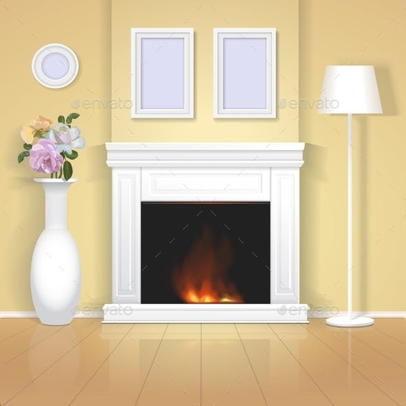 Classic Interior with Fireplace Illustration