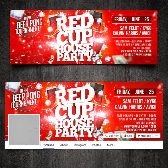Red Cup House Party Facebook Timeline Cover Template