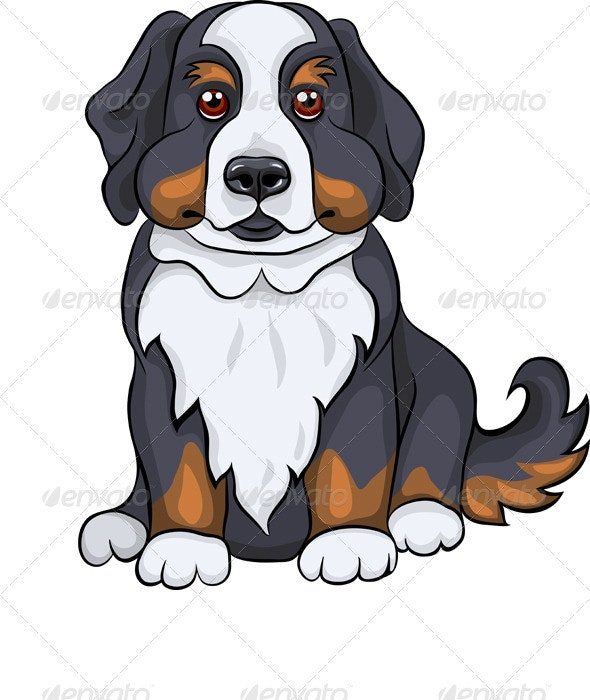Vector Cute Bernese Mountain Dog Puppy Smiles - Animals Characters