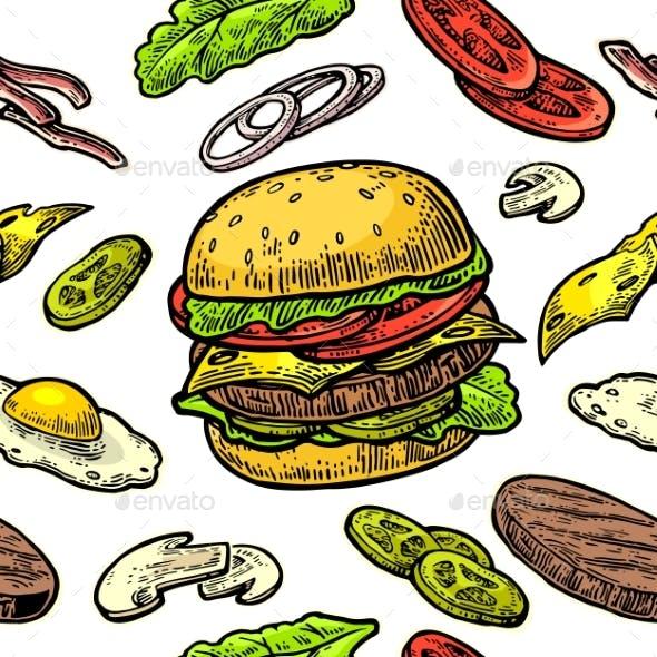 Seamless Burger Pattern