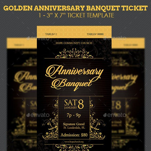 Golden Anniversary Banquet Ticket Template