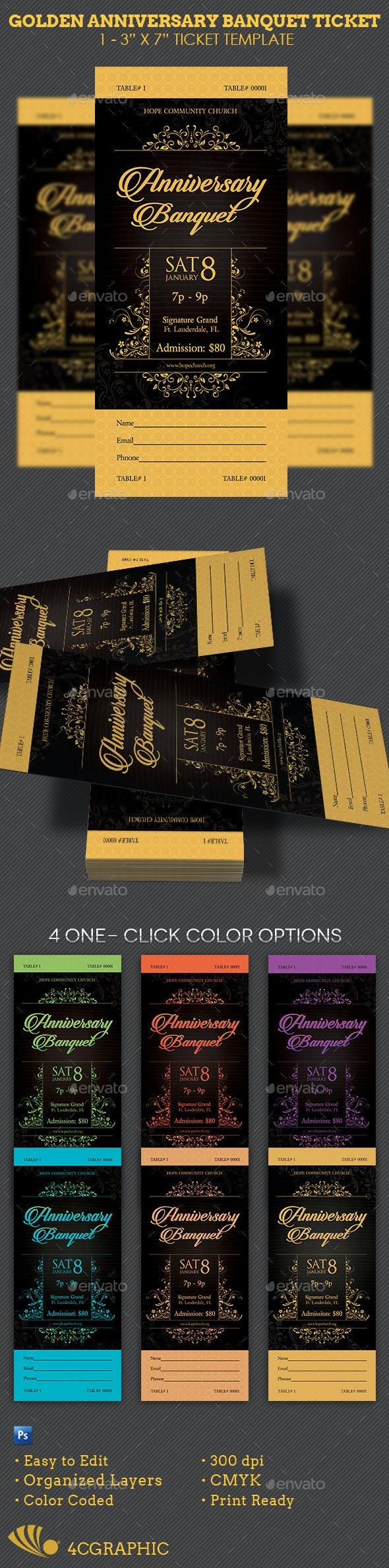 Golden Anniversary Banquet Ticket Template - Miscellaneous Print Templates