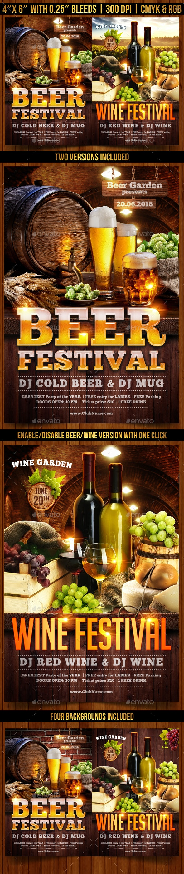 Beer and Wine Festival Flyer Template - Events Flyers