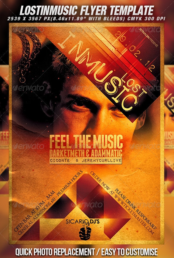 Lost In Music Flyer Template - Clubs & Parties Events