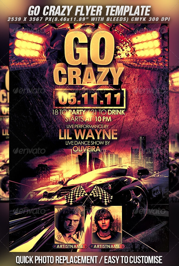 Go Crazy Flyer Template - Clubs & Parties Events