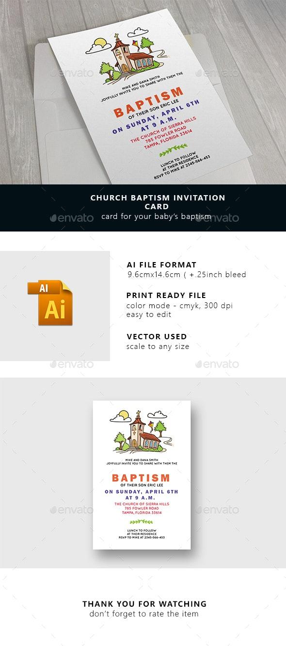Church Baptism Invitation Card  - Cards & Invites Print Templates