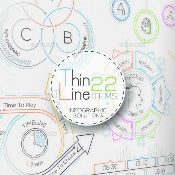 Thin Line Infographic Set
