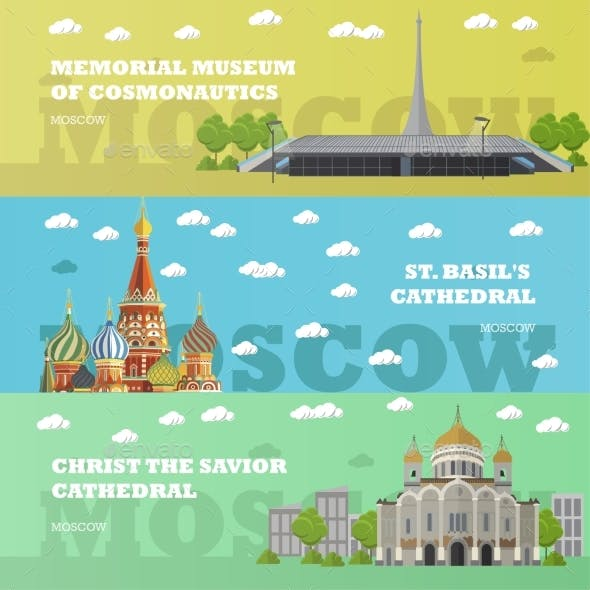 Moscow Tourist Landmark Banners