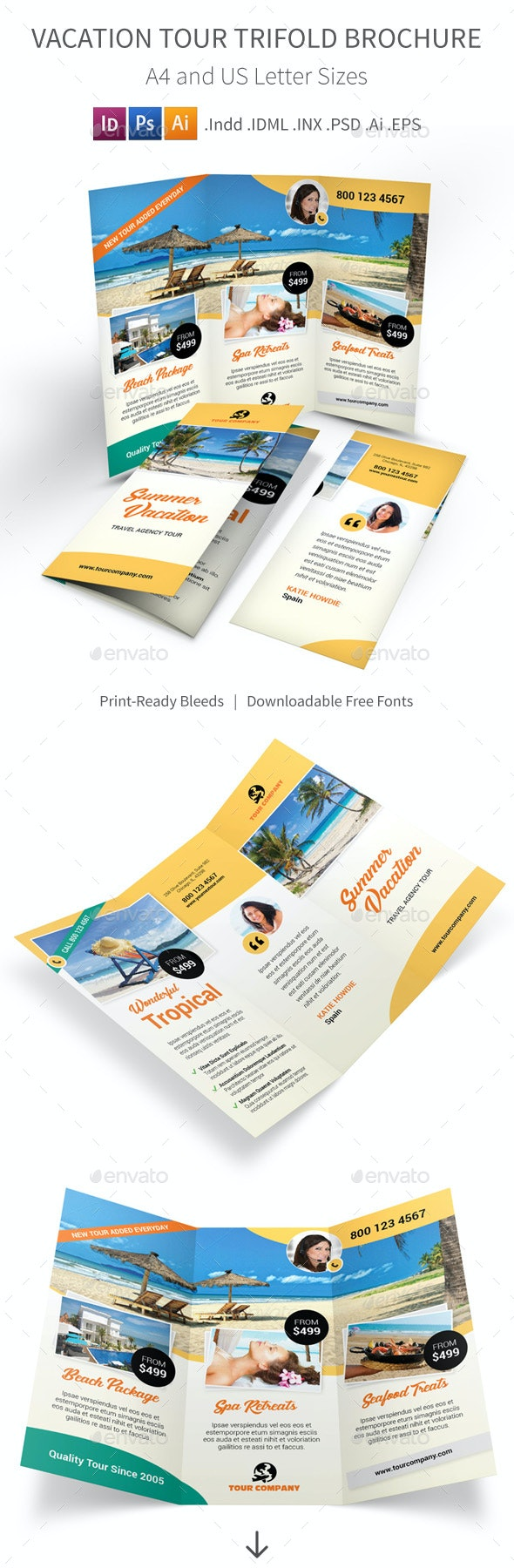 Vacation Tour Trifold Brochure - Informational Brochures