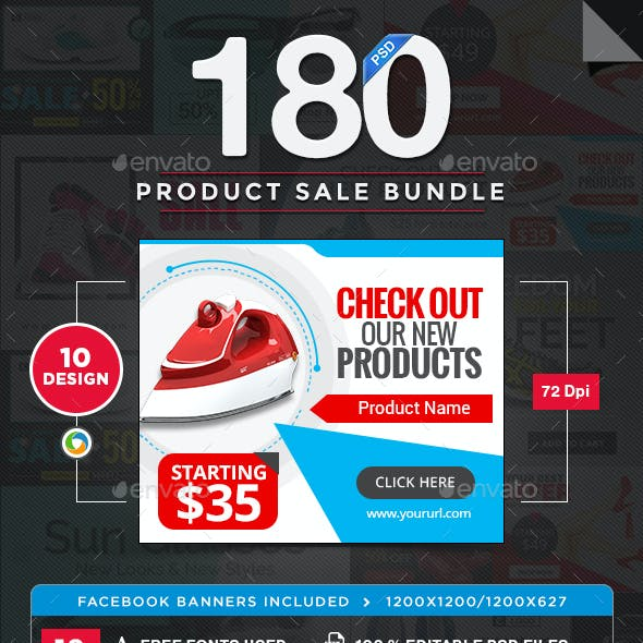 Product Sale Banners Bundle - 10 Sets - 180 Banners