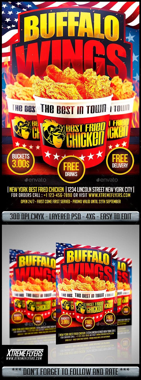 Wings Fast Food Flyer - Restaurant Flyers