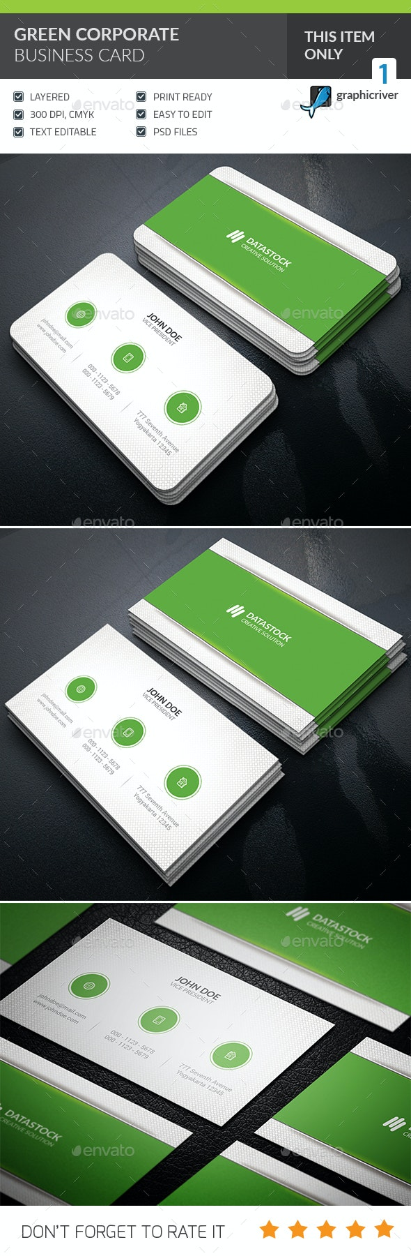 Green Corporate Business Card  - Corporate Business Cards
