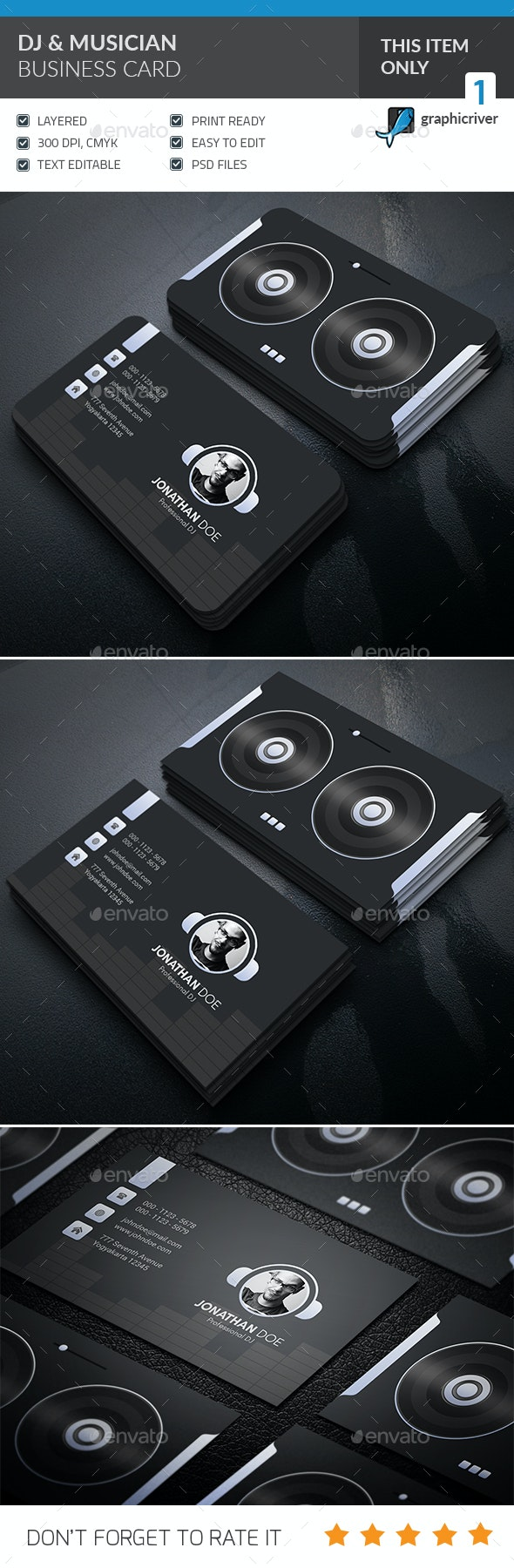 DJ & Musician Business Card  - Corporate Business Cards