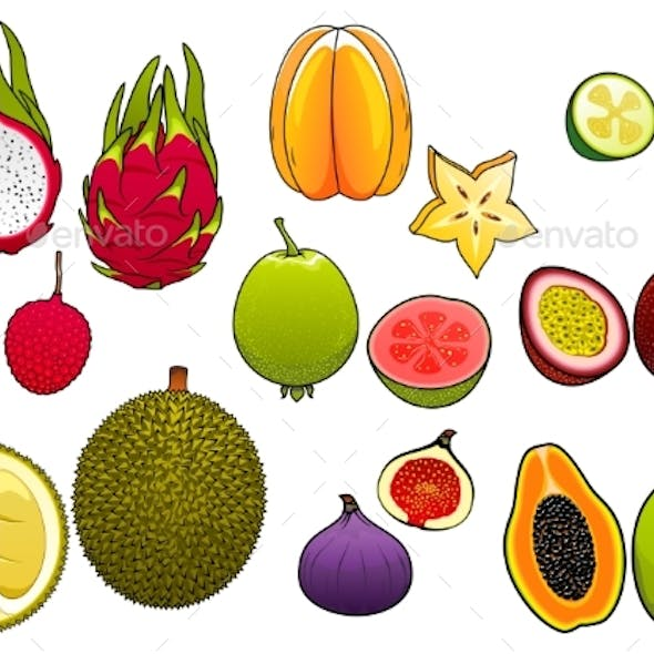 Whole And Halved Fresh Tropical Fruits