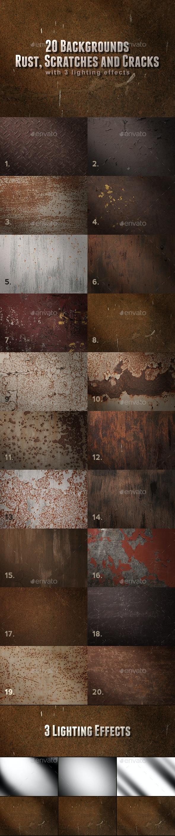 Metal Rust, Scratches and Cracks Backgrounds - Metal Textures