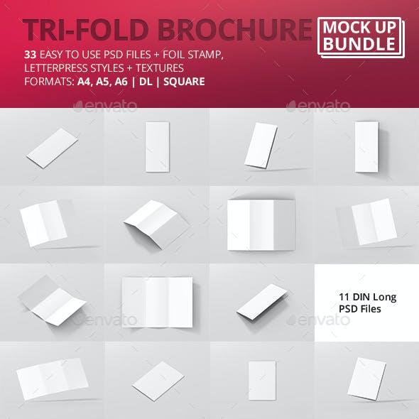 Tri-Fold Brochure Mock-Up Bundle