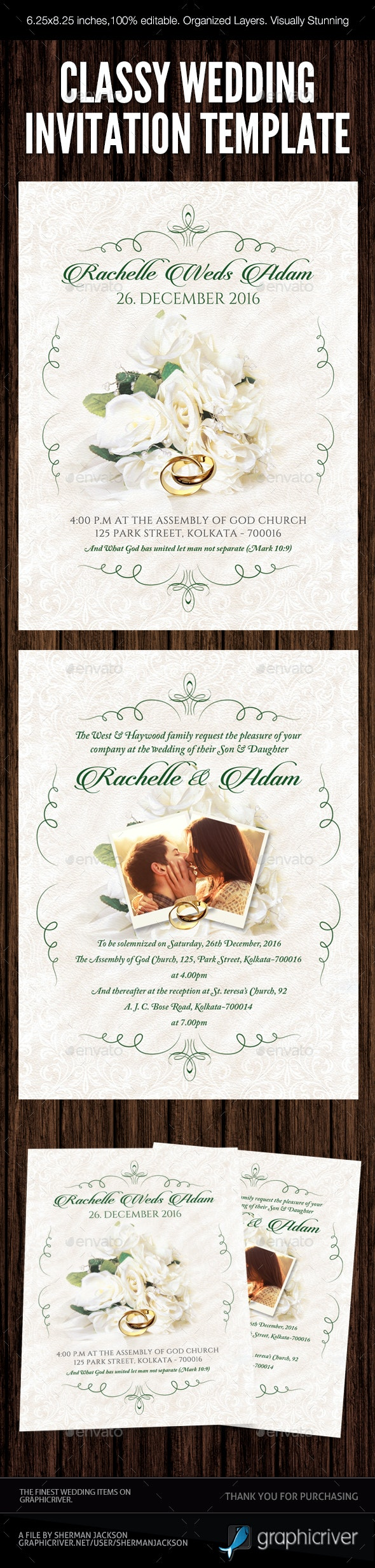 Classy Wedding Invitation 03 - Weddings Cards & Invites