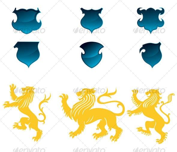 heraldic lions design - Decorative Symbols Decorative